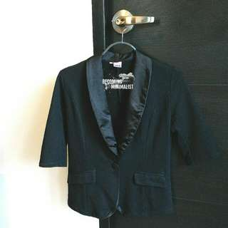 Black Cotton Blazer