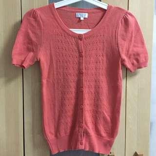 Topshop Salmon-coloured Short-sleeved Cardigan