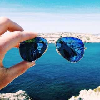 Sunglasess Mirror Blue Aviator