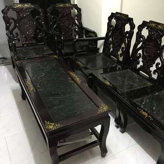 Antique Sofa With Marble(Taiwan)3+2 Seater With Side Table, 貝壳沙发