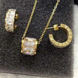 AUTHENTIC MK NECKLACE & EARRING SET