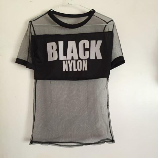 韓國性感黑色薄紗上衣