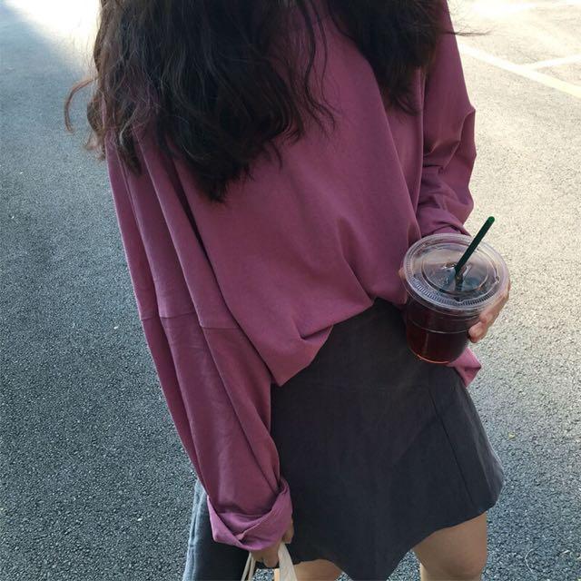 韓版百搭純色寬鬆上衣