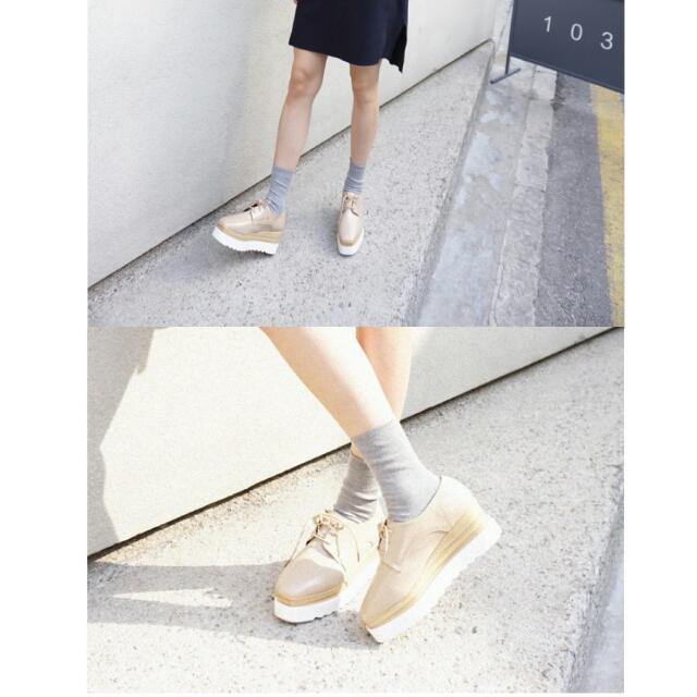 LULU 'S 正韓 牛津 雙層配色綁帶厚底鞋 24.5杏色