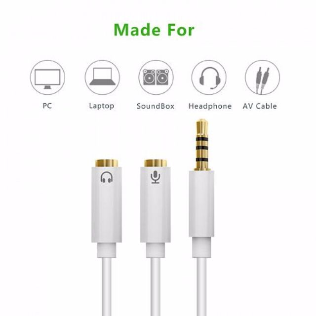 ★★ 3.5mm Metal Aux Cable 2 Female (Mic / Headset ) to Male Headphone Earphone Audio Cable Adapter ★★  Connected Cord to Laptop / PC ★★ Silver or Black ★★