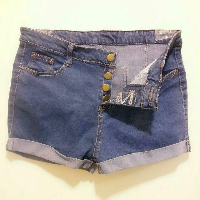 全新 高腰牛仔短褲