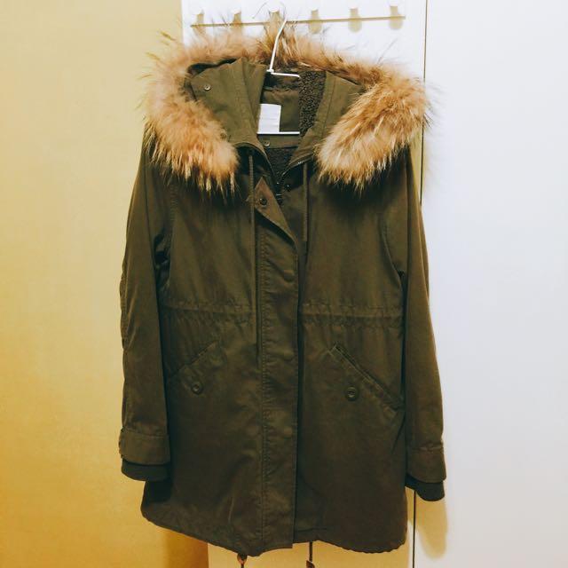 🇯🇵日系品牌 LOWRYS FARM 軍綠色大衣外套 M號