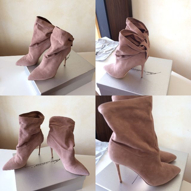 "Authentic Brian Atwood ""Adrienne"" Slouchy Ankle Boot in Nude Suede - Size 41 - 100 mm - NEVER WORN!"