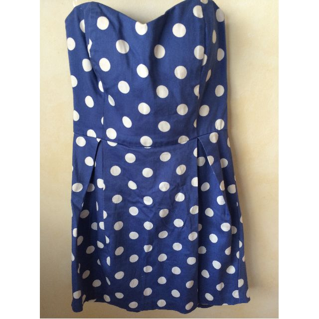 Blue Strapless Dress with white polka dots - Size Medium