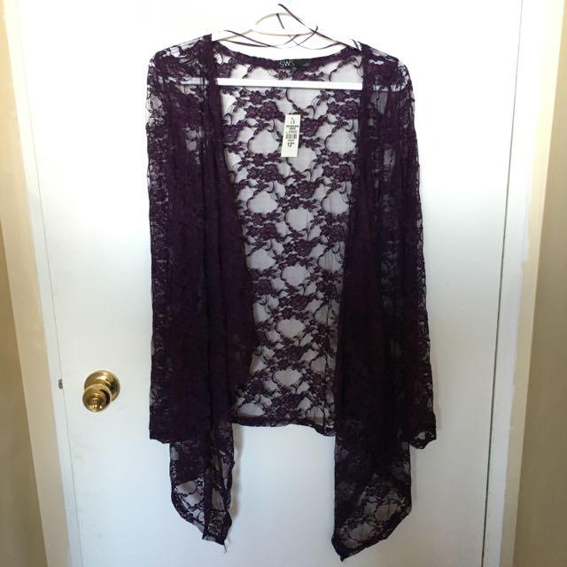 BNWT Purple Lace Cardigan Size L