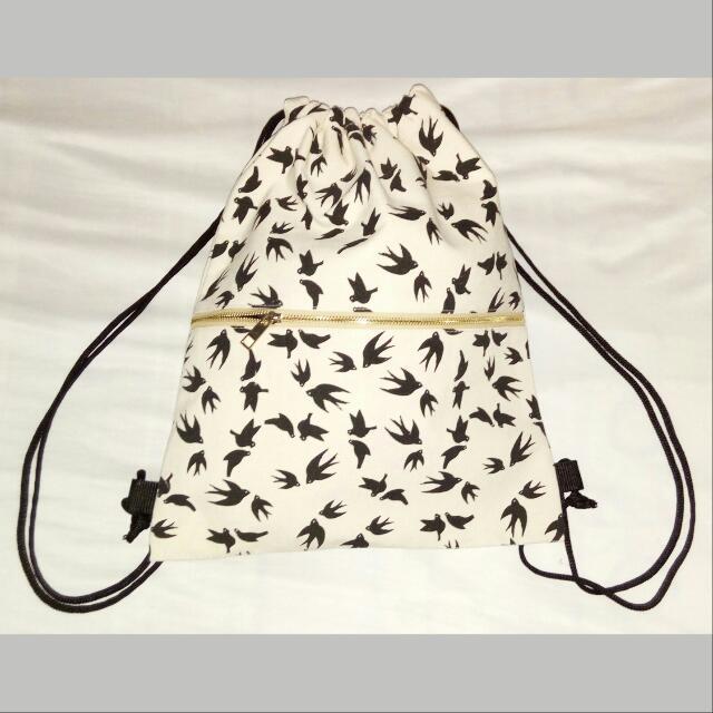 Canvass Drawstring Bag w/ Gold Zipper