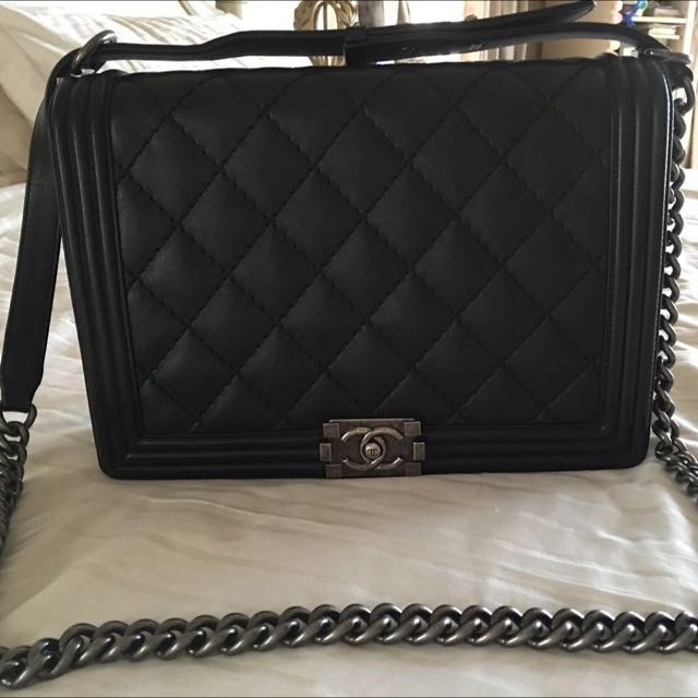 b4d75e857661 PRICE REDUCED FROM 16500 TO 14K!! CHANEL BOY LARGE BLACK LAMBSKIN ...