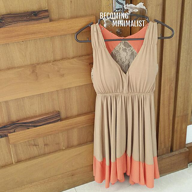 REPRICED Color Block Dress Nude and Peach