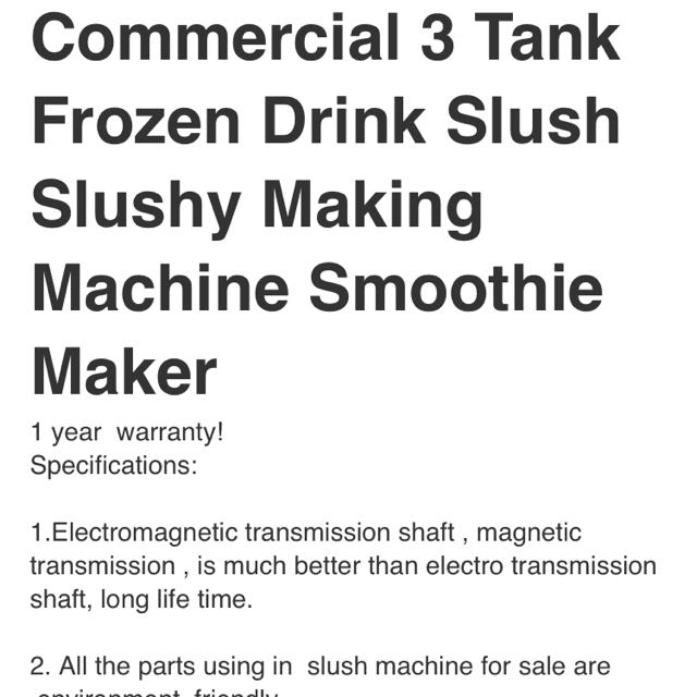 COMMERCIAL 3 Frozen Drink Slushy Making Machine