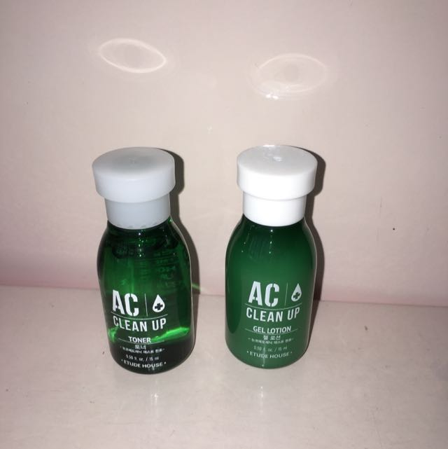 Etude House AC Clean Up Toner & Gel Lotion(暗瘡系列), 美容&化妝品, 皮膚護理喺Carousell
