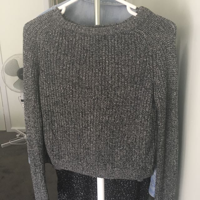 Grey Fishermen Crop Jumper