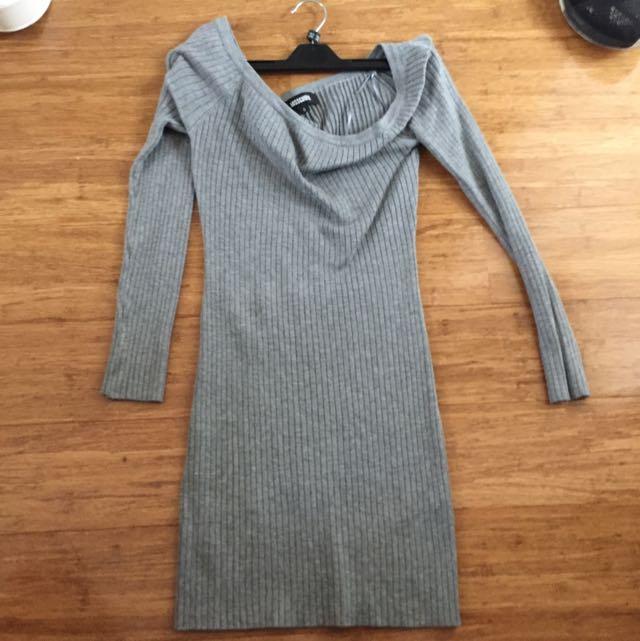 Grey Ribbed Off Shoulder Dress