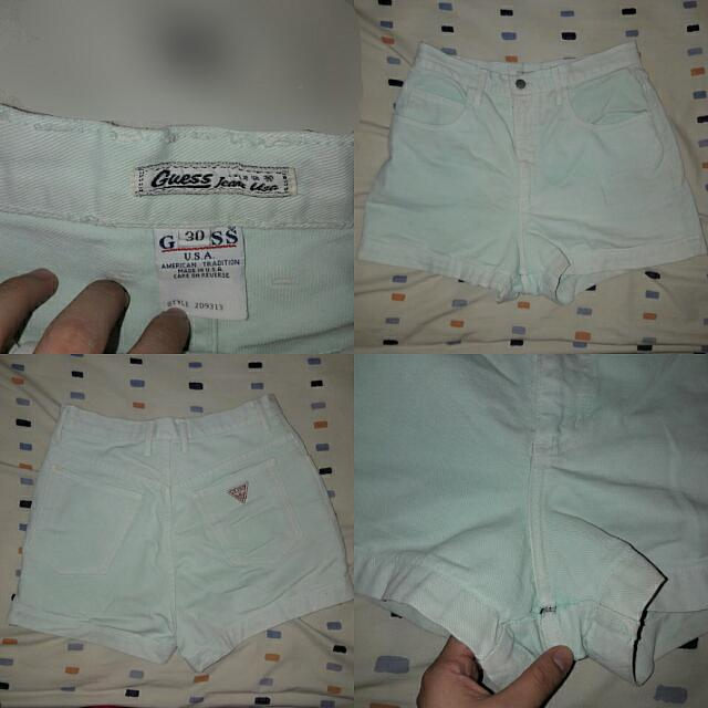 Guesss High Waist Pants In Baby Blue
