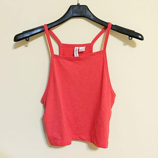 H&M 短版紅細肩背心