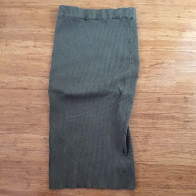 Knit Khaki Midi Skirt