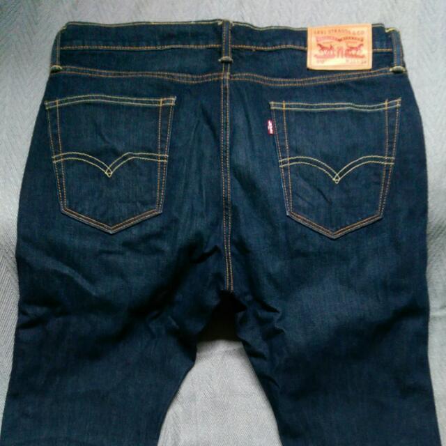 LEVI'S 501直筒深藍刷白牛仔褲