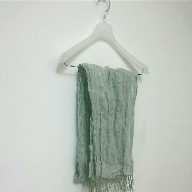 無印良品MUJI 薄圍巾,湖水綠