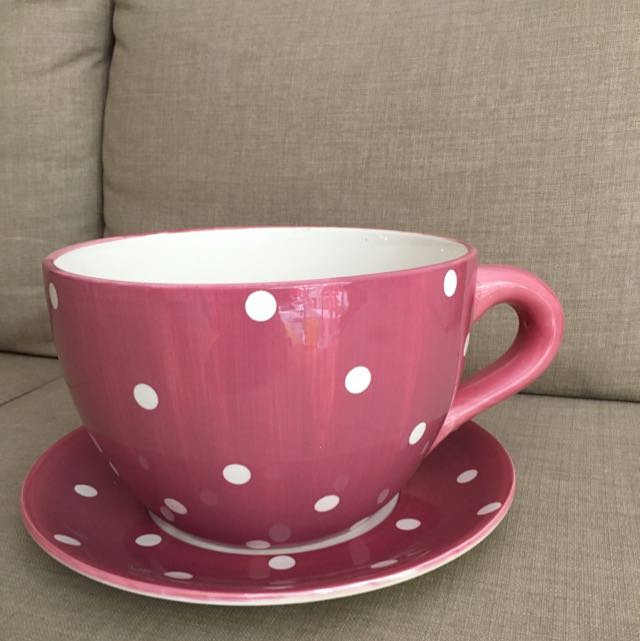 Oversized Cup with White Polka Dots