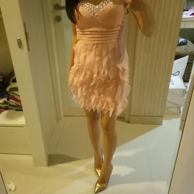 Baju pesta Party Dress Pink all size muat size S-M