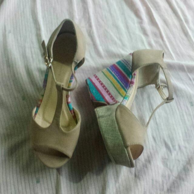 Primadonna Beige Wedge Sandals (Repriced)