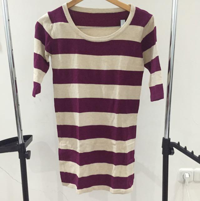 Purple Stripe Mini Dress