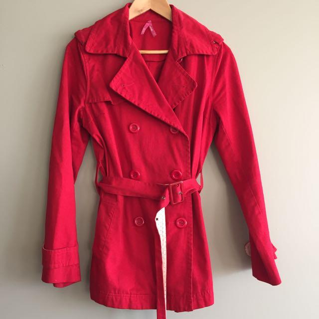 Red Trench Coat, Dottie, Size 12