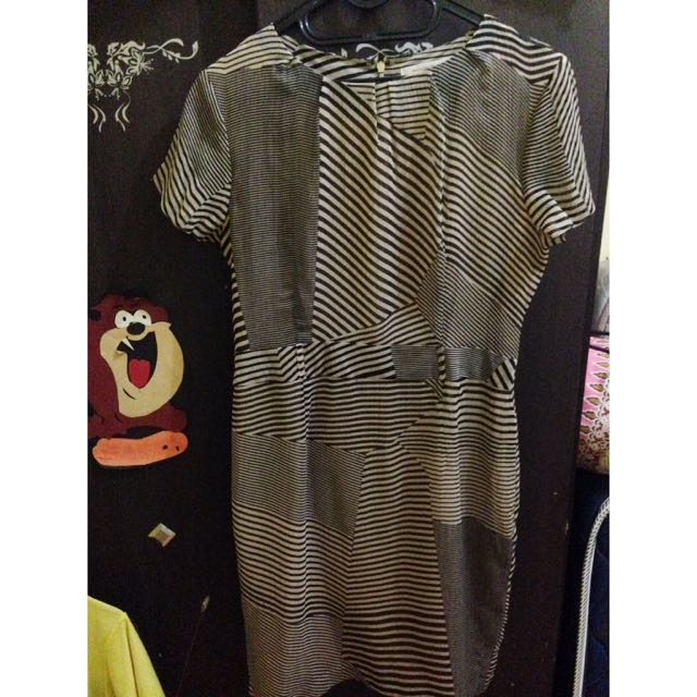 Stripe Dress In Brown
