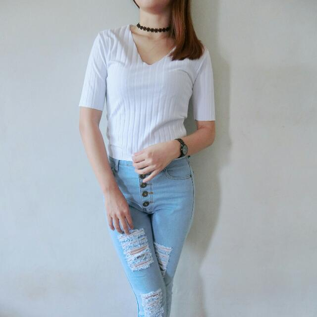 Top V-neck Knitted Imporr