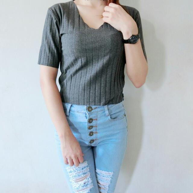 Top V-neck Knitted Import
