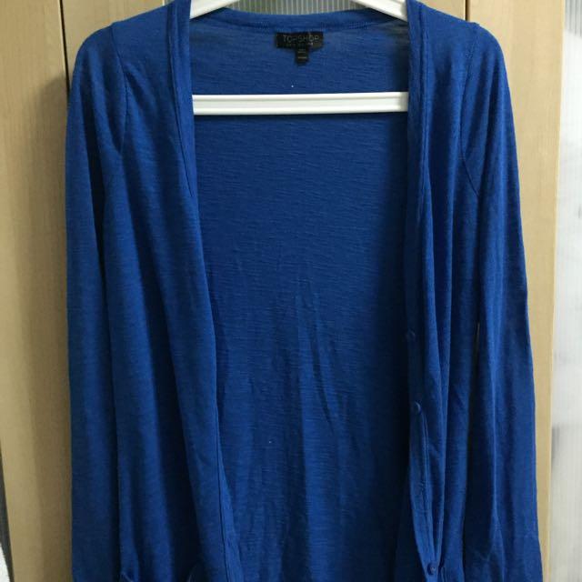 Topshop Blue Long Cardigan