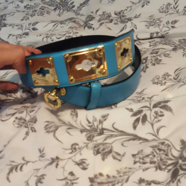 Vintage Blue Belt Gold Buckles
