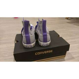 Converse 灰紫色 高筒 23.5