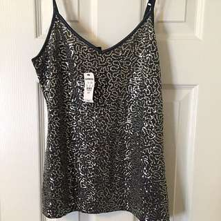 Sequin Tank Top With Adjustable Straps