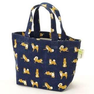 預購商品。柴犬藍色手提袋。飯盒便當。