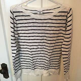 Columbia Brand White And Navy Stripped Long Sleeve
