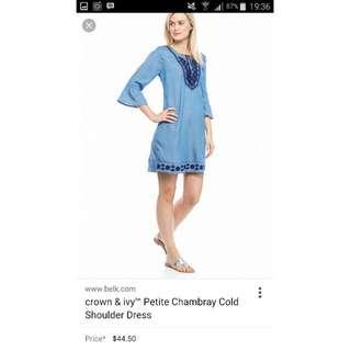 *NEW* Bohemian Dress // Crown&Ivy Petite Chambray Cold Shoulder Dress