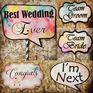 Customized Watercolor Themed Wedding Photo Props