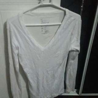 White Gap Long Sleeve Top