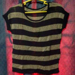 Crocheted Shirt (black And Grey Stripes)