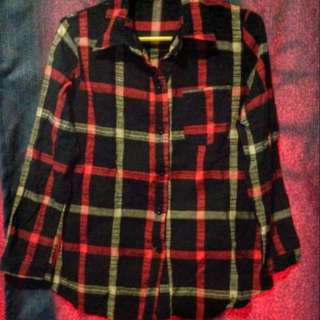 Reserved!  Black Checkered Long Sleeves (button Down)
