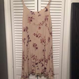 Brandy Melville Beige Floral Swing Dress One Size