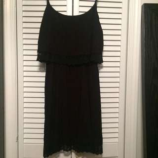 Black Two Tier Lace Trim Dress Size M