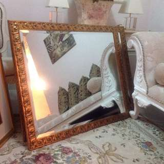 Wall Dining Mirror with Gold wood frame