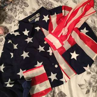 USA Flag Cropped Blouse by Rehab