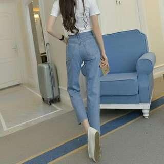 韓版八分寬牛仔褲